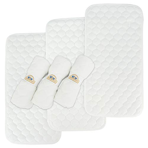 Bamboo Quilted Thicker Longer Waterproof Changing Pad Liners for Babies 6 Count by BlueSnail