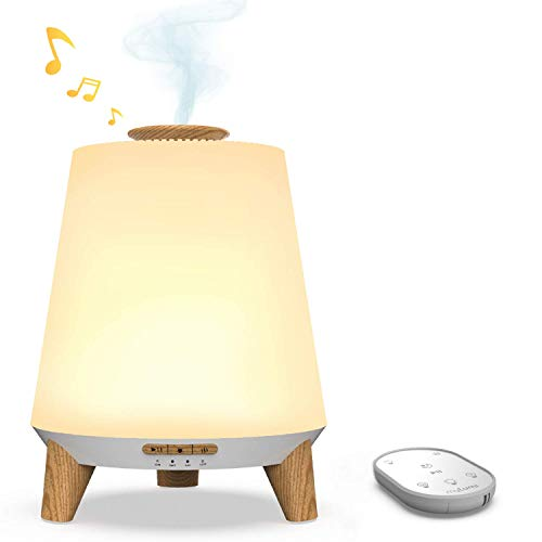 Nectar Baby Humidifiers for Nursery, Ultrasonic Air Humidifier for Bedroom(Cool Mist & Aroma Diffuser), 7 Color with Remote Control, Bluetooth Lullaby & White Noise, Nightlight for Kids (Wood)