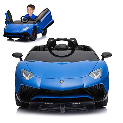12V Electric Ride On Car with 2.4G Remote Control, 2019 Latest Model Aventador SV Roadster LP750-4 with Openable Doors, MP3, USB -Blue