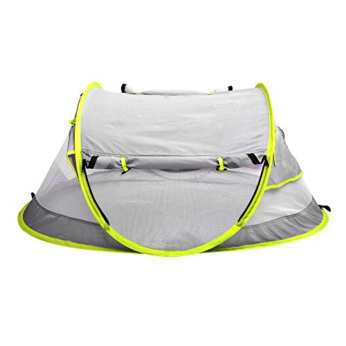 Epltion 2020 Baby Beach Tent Outdoor Pop Up Tent UPF 50+ UV Protection Sun Shelter for Infant Carry Bag Included Silver
