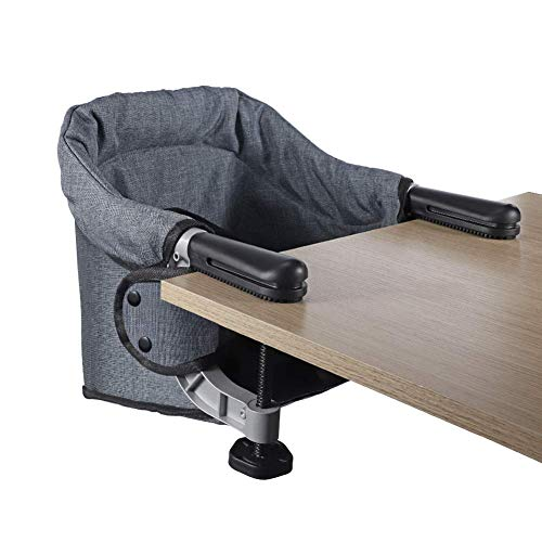 Hook On Chair, Clip on High Chair, Fold-Flat Storage Portable Baby Feeding Seat, High Load Design, Attach to Fast Table Chair Removable Seat for Home and Travel(Grey)