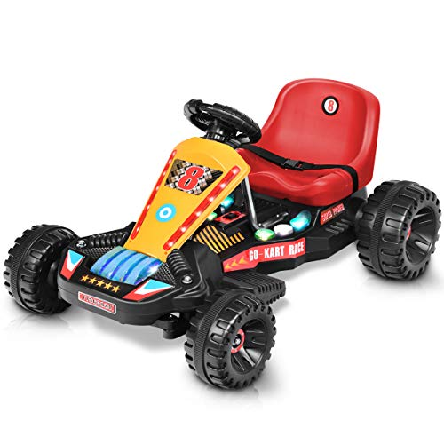Costzon Electric Go Cart, 6V Battery Powered 4 Wheel Racer for Kids, Kids' Pedal Cars for Outdoor, Ride On Toy Car with LED Flash Light, Music, Forward/Backward, 3-Position Adjustable Seat (Red)