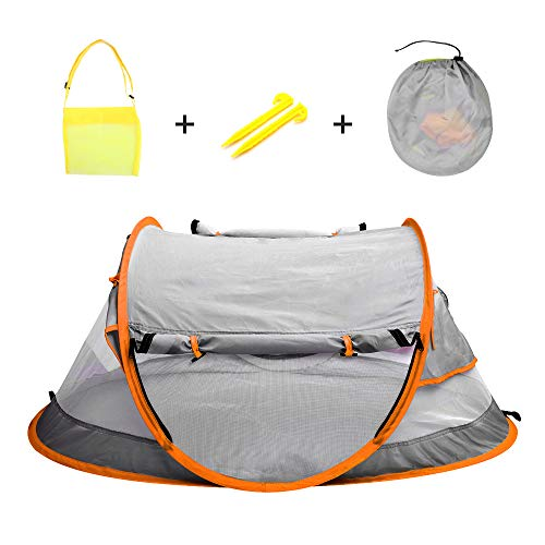 Epltion Baby Beach Tent with Mosquito Net,Baby Travel Bed,UPF 50+ UV Protection Sun Shelter for Infant, Portable Travel Crib with Beach Bag,Grey