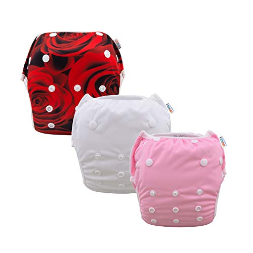 ALVABABY Baby Swim Diapers 2pcs Reuseable & Adjustable for Swimming Lesson & Baby Shower Gifts (Sea Horse and Fishes, one Size ( 0-2 Years Old))