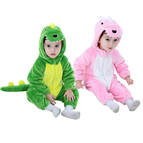 Dinosaur Costume Kids Hooded Onesie Animal Costume Halloween (Pink, 12-24 Months)