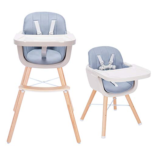 Tiny Dreny Convertible Baby High Chair with Multicolor Cushion | Wooden High Chair for Babies and Toddlers | 3-in-1 Baby High Chair for Eating | Grow up with Family | Adjustable Tray | Easy Assembly