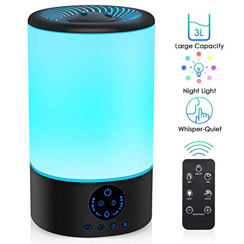 Cool Mist Humidifier, Quiet Humidifiers for Bedroom Babies, 3L Large Humidifier w/ Remote Control, 7 Colors Night Light Adjustable Brightness & Mist Output, Timer, Auto Shut-Off for Office Home, White