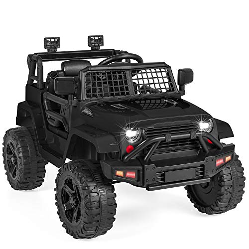 Best Choice Products 12V Kids Ride On Truck Car w/Parent Remote Control, Spring Suspension, LED Lights, AUX Port - Black