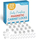 20 Pack Magnetic Cabinet Locks Baby Proofing - Vmaisi Children Proof Cupboard Drawers Latches - Adhesive Easy Installation