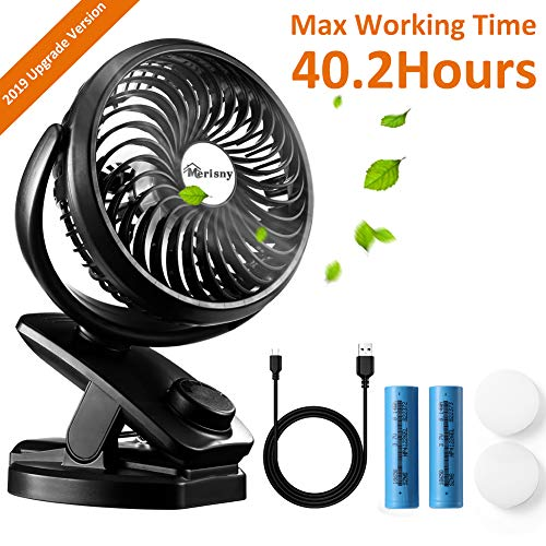 Hpory USB Clip On Fan for Baby Stroller Rechargeable Portable Desk Fan 2 in 1 Mini Fan with 4400mAh Battery Powered Fan for Office,Travel, Camping or Outdoor Activities