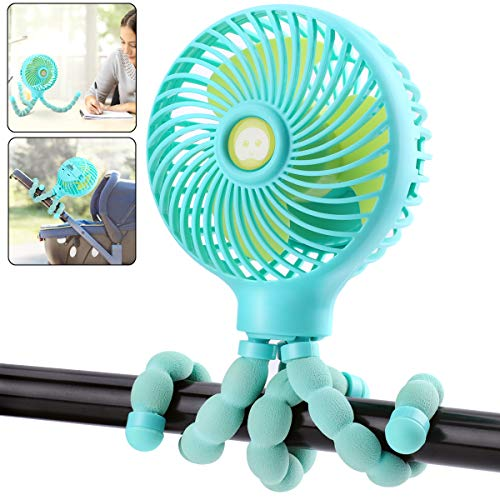 OPOLEMIN Handheld Stroller Fan Personal Portable Fan with USB or 2600mAh Battery Rechargeable Baby Car Seat Fan with Flexible Tripod Desk Fan for Golf Cart Stroller Bike Camping Beach