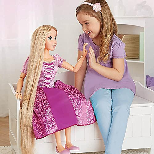 Disney Princess Rapunzel Doll 32' Playdate, My Size Articulated Doll, Comes with Brush to Comb Her Long Golden Locks, Movie Inspired Purple Dress, Removable Shoes & A Tiara
