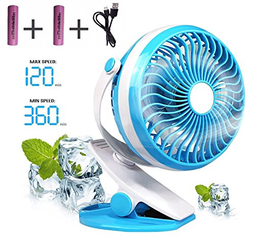 Baby Stroller Mini Battery Operated Clip Fan, Small Portable Fan Powered by Rechargeable Battery or USB Desk Personal Car Gym Workout Camping, Blue
