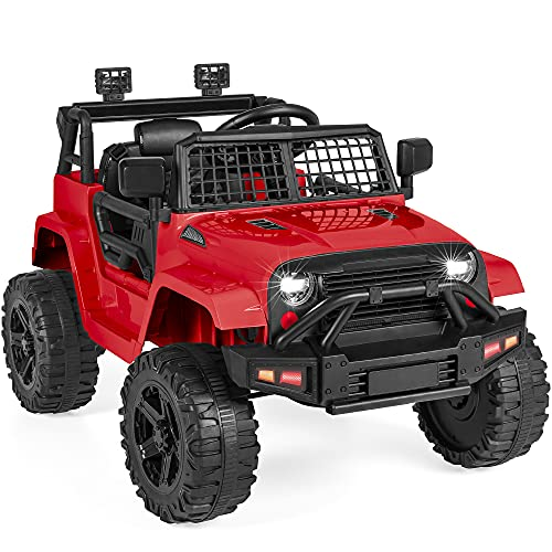 Best Choice Products 12V Kids Ride On Truck Car w/Parent Remote Control, Spring Suspension, LED Lights, AUX Port - Red