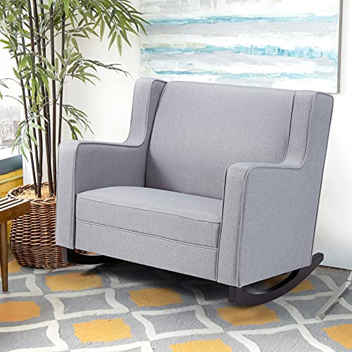 Esright Upholstered Rocking Sofa Chair with Spacious Wingback, Nursery Glider Rocker Provides Comfortable Relax for Living Room, Bedroom, Baby Room, Double Wide Rocker Grey