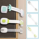 Child Safety Cabinets Locks Sticky Adjustable Pets Proofing Strap Baby Locks Latches for Furniture Trash Can with Strong3M Adhesive No Tools Easy Installation Baby gate Lock System Pack of 4